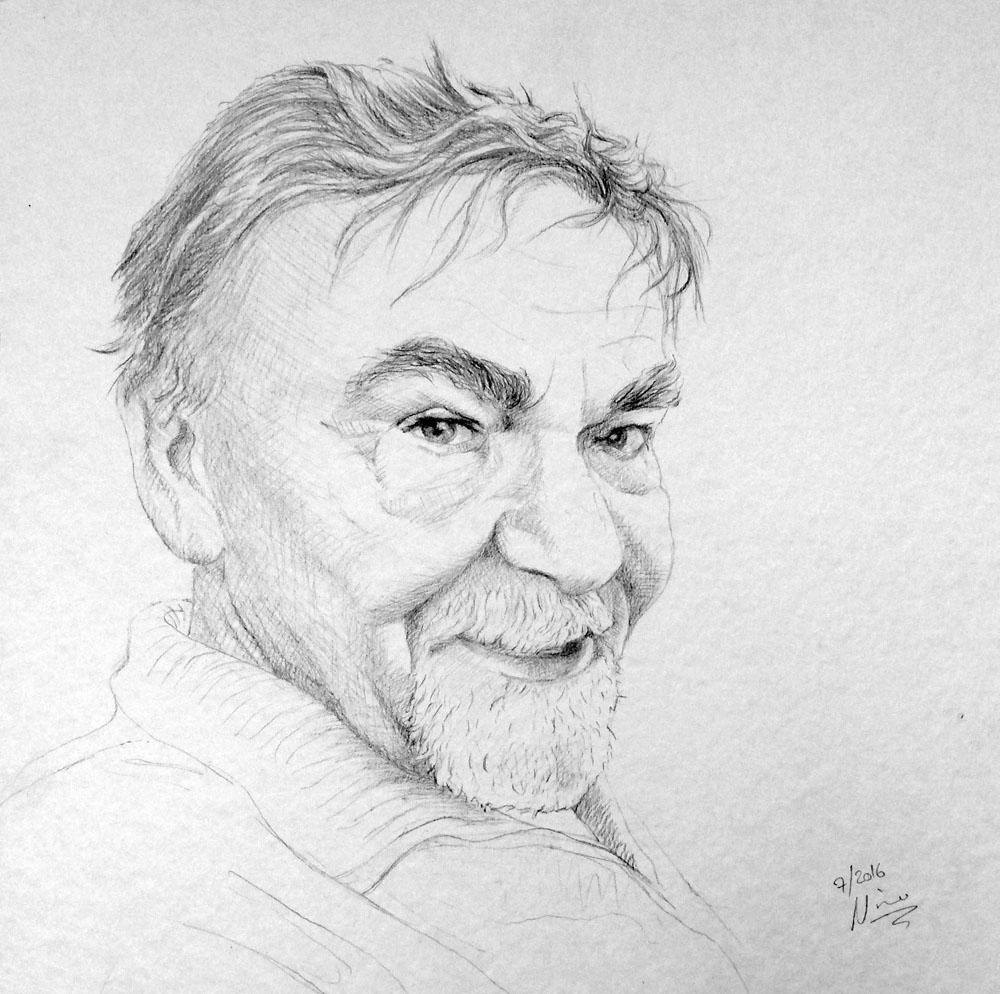 Portrait eines Mannes mit Bleistift gezeichnet