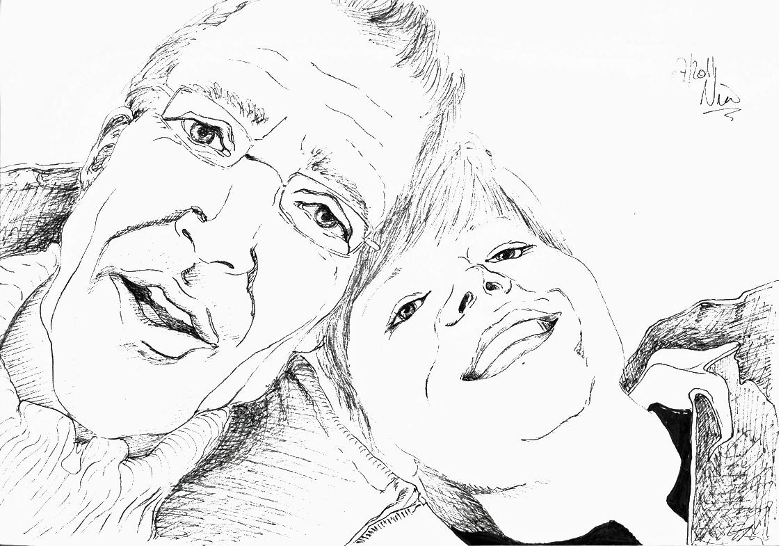 Portrait mit Fineliner gezeichnet