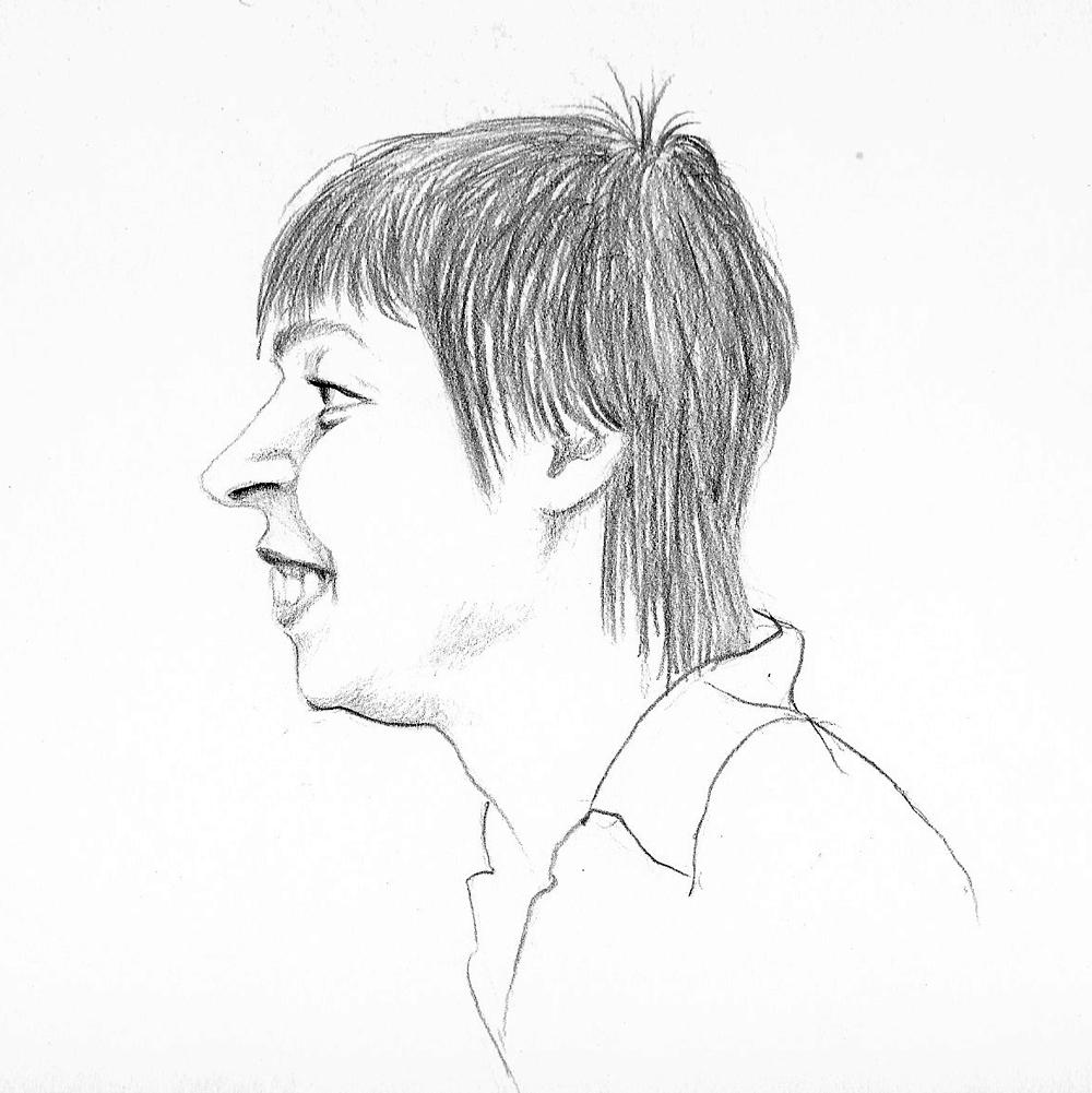Karikatur einer Frau mit Bleistift gezeichnet