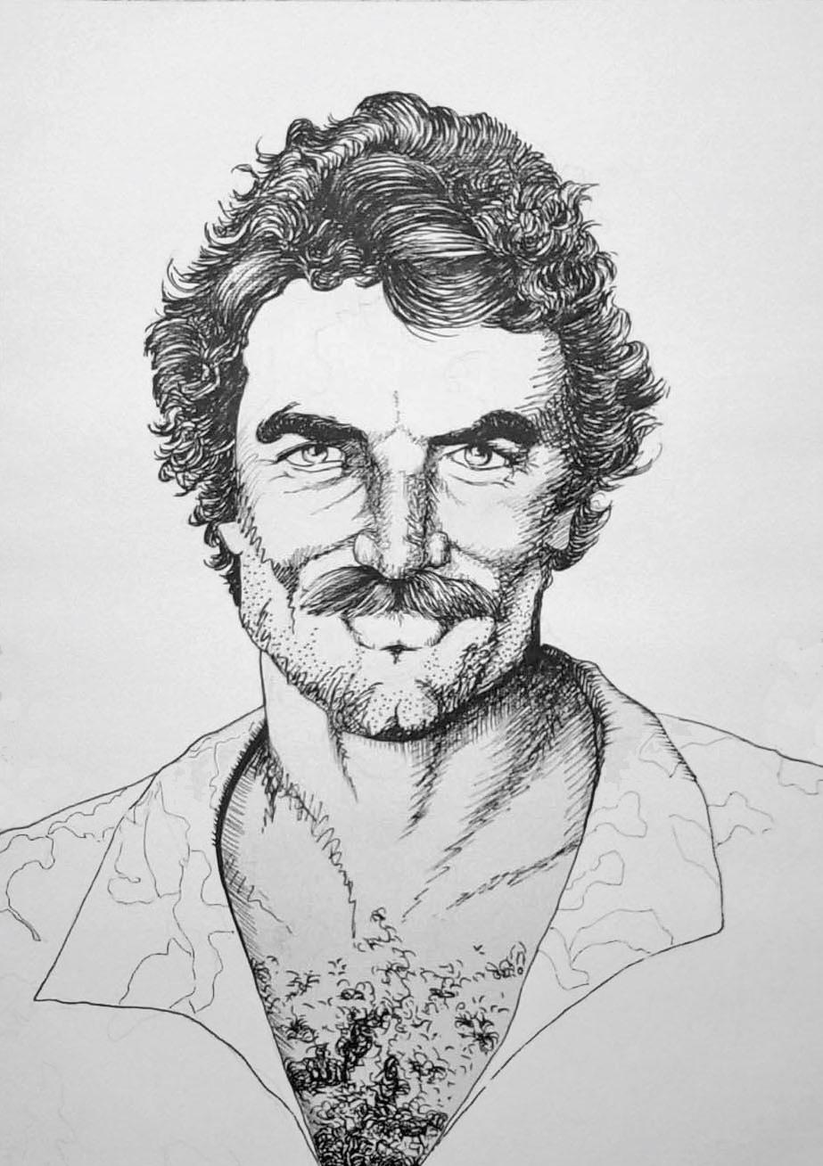 Schwarz-Weiß Portrait von Tom Selleck/Magnum