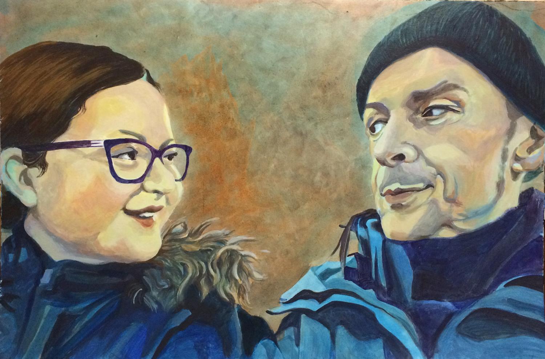 Portrait von Vater und Tochter