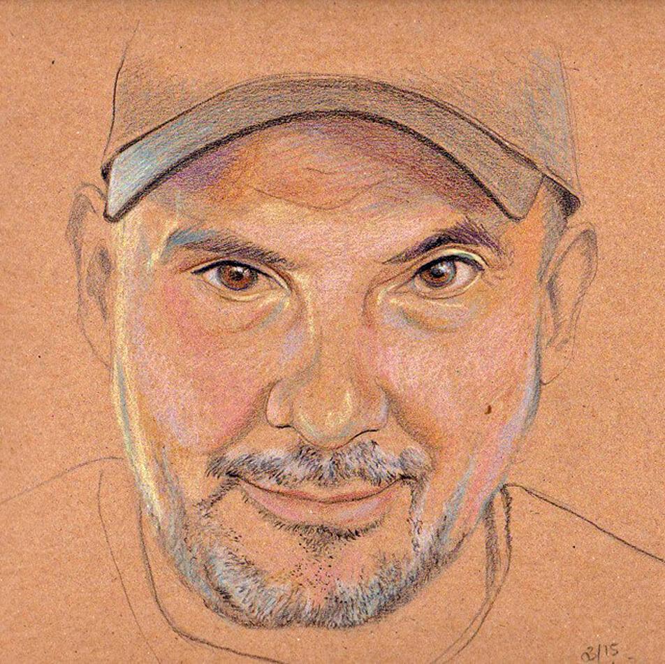 Portrait von Westbam als farbige Zeichnung